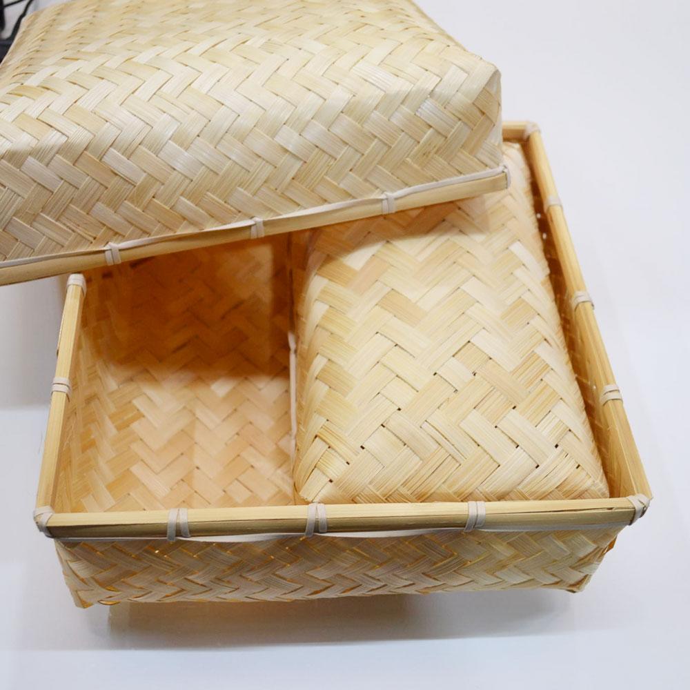 バンブー弁当箱 竹かご スクエア ふた付き ナチュラルバスケット 収納 ベトナム製 裁縫箱 インテリア シンプル 見せる収納 小物収納 お菓子入れ 可愛い おしゃれ 北欧 大き目 かご カゴ オシャレ シンプル おにぎり入れ 竹 バンブー 101