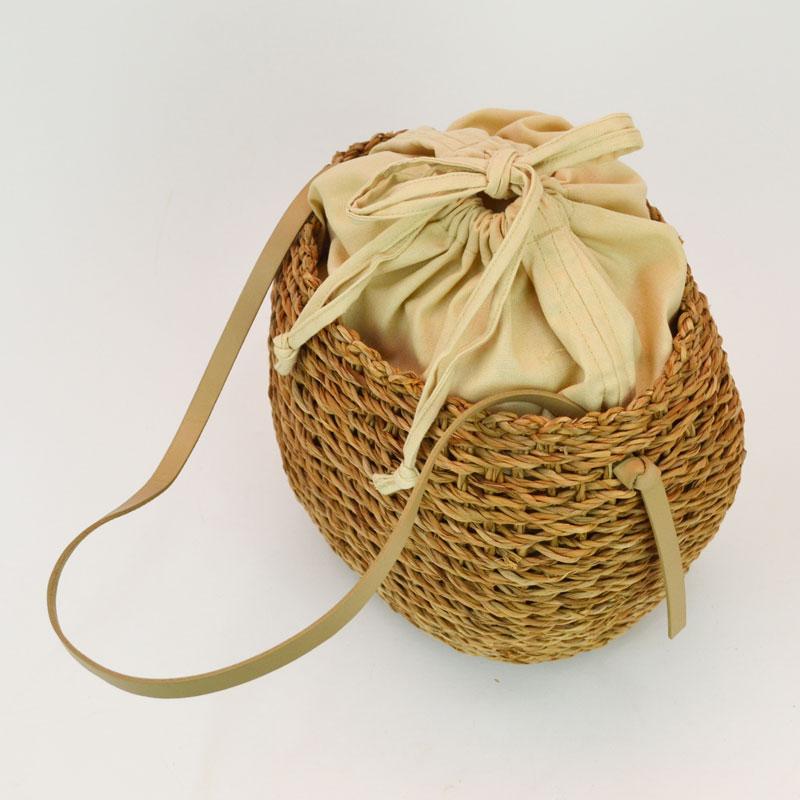バンクアン 牛革 ショルダーバッグ かごバッグ 巾着バッグ