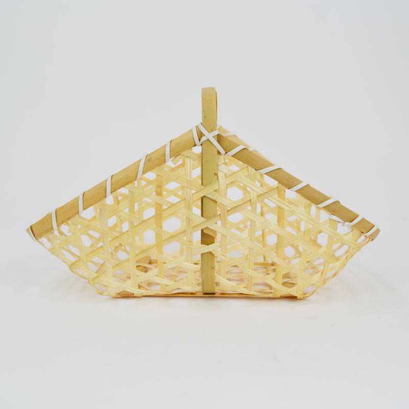 竹かご 山型 L 六つ目編み 透かし 台所 収納 インテリア