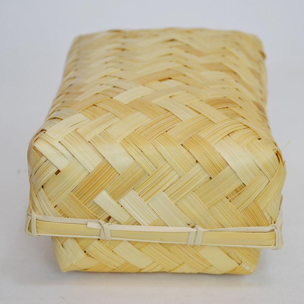 バンブー弁当箱 竹かご 長方 ふた付き ナチュラルバスケット 収納 ベトナム製 裁縫箱 インテリア シンプル 見せる収納 小物収納 お菓子入れ 可愛い おしゃれ 北欧  かご カゴ オシャレ シンプル おにぎり入れ 竹 バンブー 102