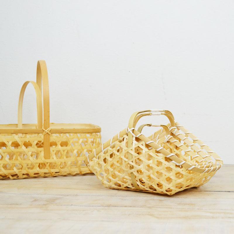 S M L セット 竹かご 山型 六つ目編み 台所 収納