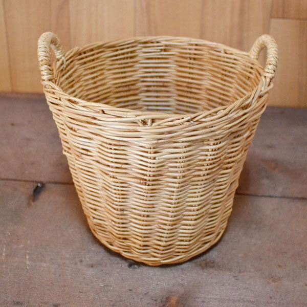 タイ製 ラタンラウンドバスケットSサイズ 持ち手付 可愛い おしゃれ 持ち運びに便利 ミニ 小物入れ バスケット 収納 おもちゃかご 鉢カバーとしても使えます 丈夫なタイ製 rat