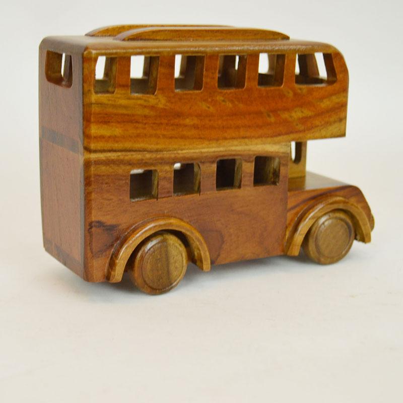 ウッドビークル 2階建てバス 木製 乗り物 おもちゃ 木の車
