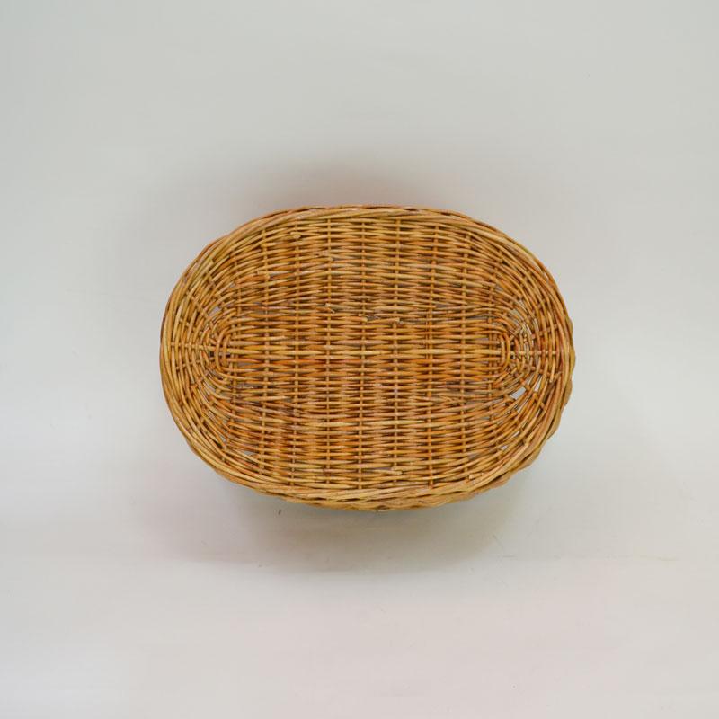 ラタン製ランドリーバスケット みみ付 脱衣かご 籐かご 楕円
