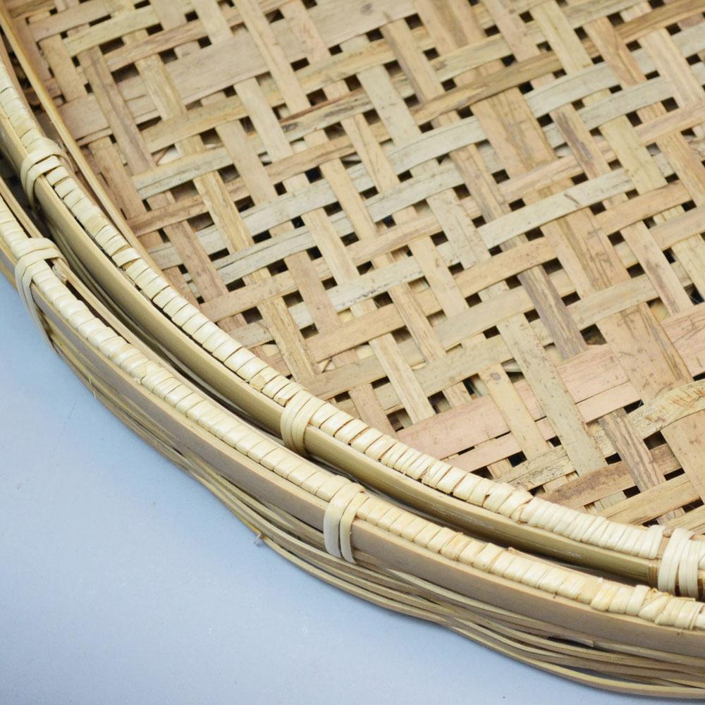 竹 干しざる  2セット   皮竹材料四つ目 2重底 竹製 自家製なら安心 手作り 梅干し 野菜 海産物 天日干し ザル 直径52cm 干物づくり 虫よけ 梅仕事に 魚の干物 通気性 丈夫 エコ 自然素材 ナチュラル 清潔 おやつ
