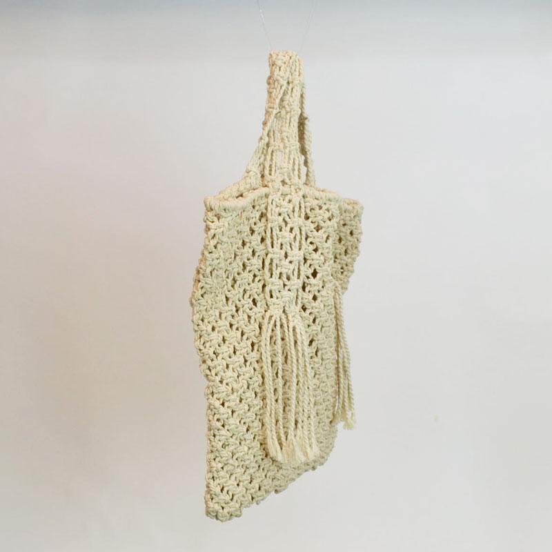 マクラメ編み スクエア トートバッグ C ロープバッグ