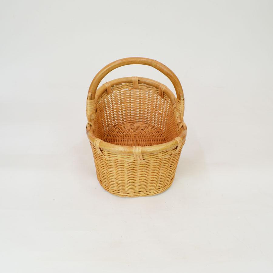 高級 ラタンバスケット オーバル 1本手  小物入れや収納用 かごとして ディスプレイやイベント(結婚式・パーティー)にも使えるバスケット籠 籐 収納 ピクニック 籐かご rat
