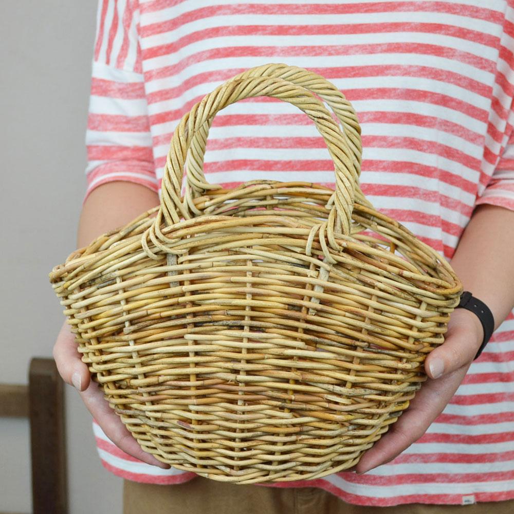 アラログかごバッグ NINA'S Sサイズ  かご 収納 かごバック 持ち手つき カゴバッグ バスケット ナチュラル かご シンプル おしゃれ ディスプレイ カゴ バスケット バッグ かばん 鞄 自然素材 アンティーク風 アラログ 店舗