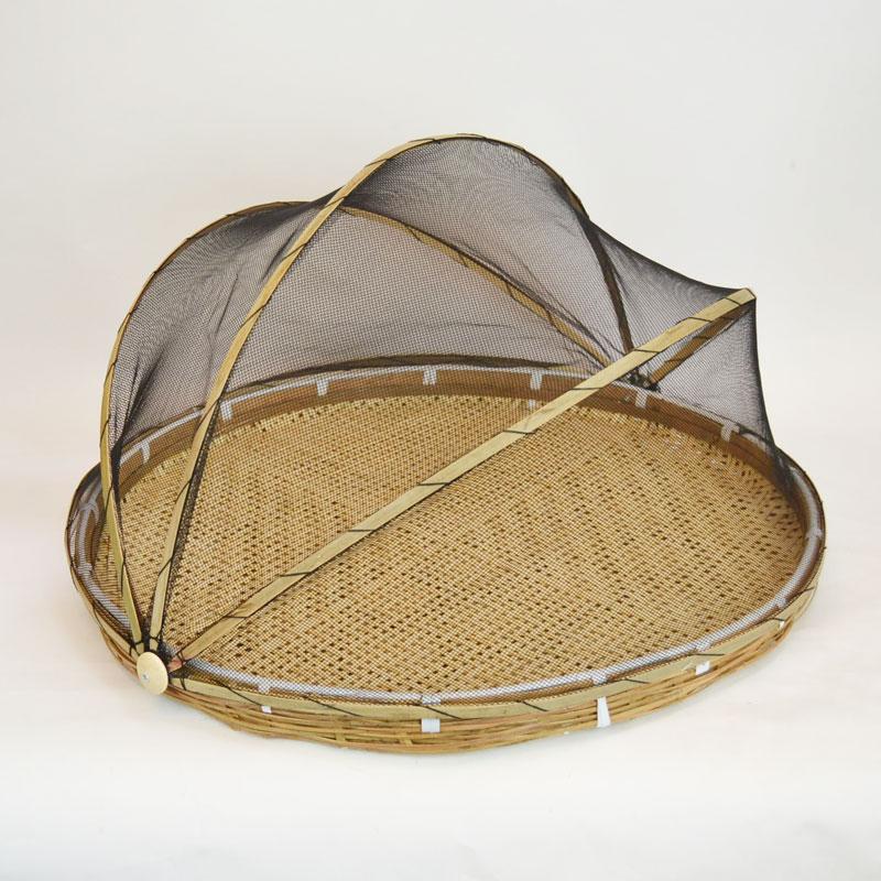 ネット付 竹ざる フードカバー 干しざる ザル 梅干し用 魚