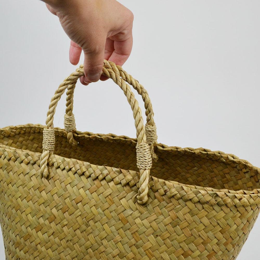カチュー (水草) マルシェ かごバッグ Sサイズ 格子状 自然な風合い 天然素材 インテリア 小物収納 繊細 編み ナチュラル カジュアル スタイル バック バッグ かばん 伝統工芸 タイ製 職人 懐かしい ぬくもり ハンドメイド 手作り
