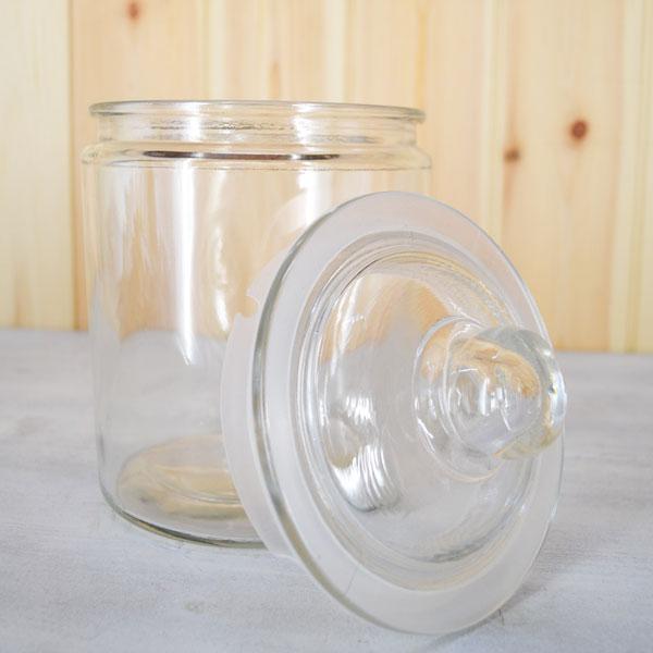 ガラスキャニスター アーモンド Mサイズ グラスジャー ガラスジャーお米やお菓子など食品の保存 ストック 小物や雑貨を収納 カントリーガラス瓶パッキン付き