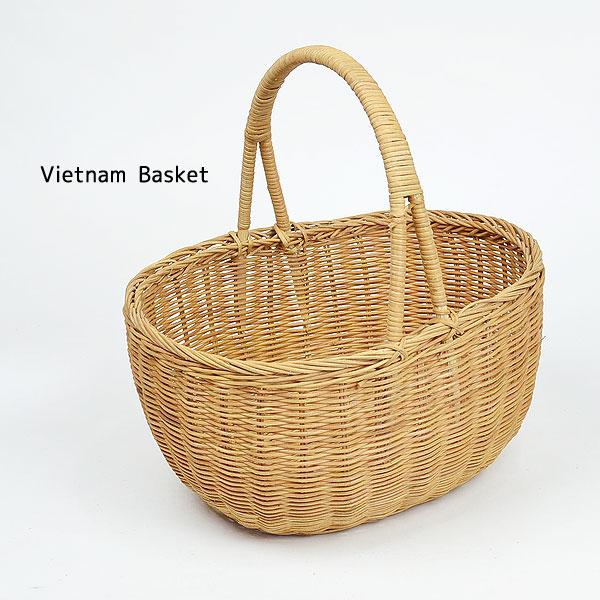 ラタンバスケット オーバル 深型 持ち手付き ベトナム製