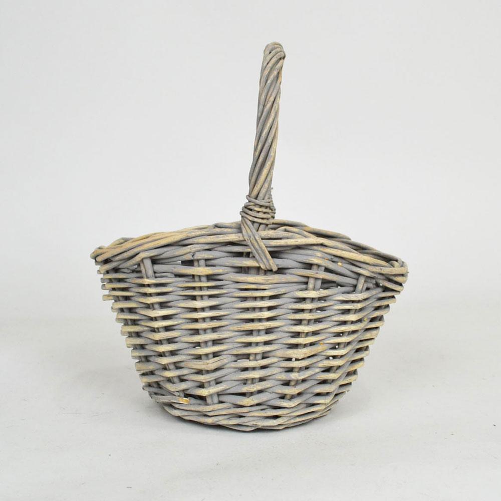 柳 ハンドルかご S ライトグレー ウィローバスケット 花籠