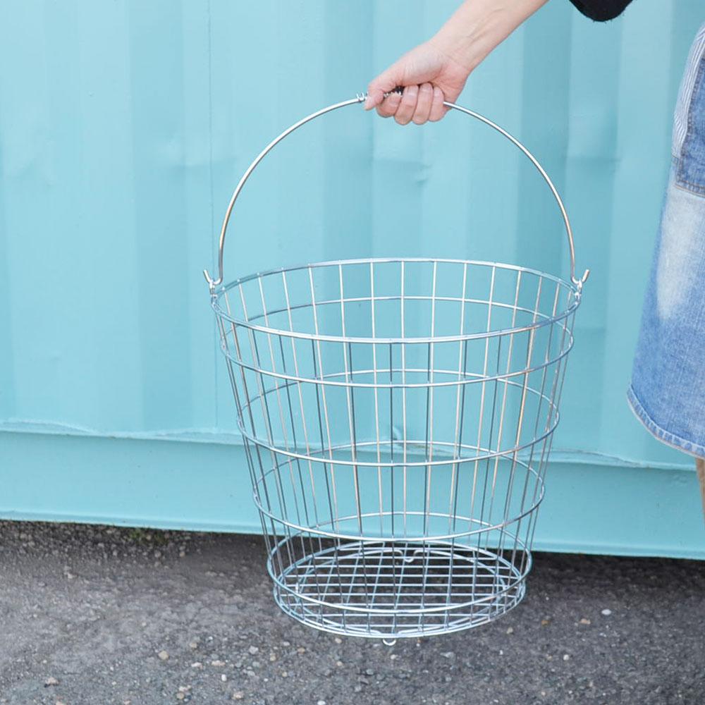 ワイヤーバスケット 丸 Lサイズ ランドリーバスケット アイアン シルバー シンプル 持ち手つき 使い勝手のいいデザイン キッチン リビング 玄関 サークル おしゃれ 見せる収納 ナチュラル 丈夫 ワイヤー かご 収納 インテリア POS