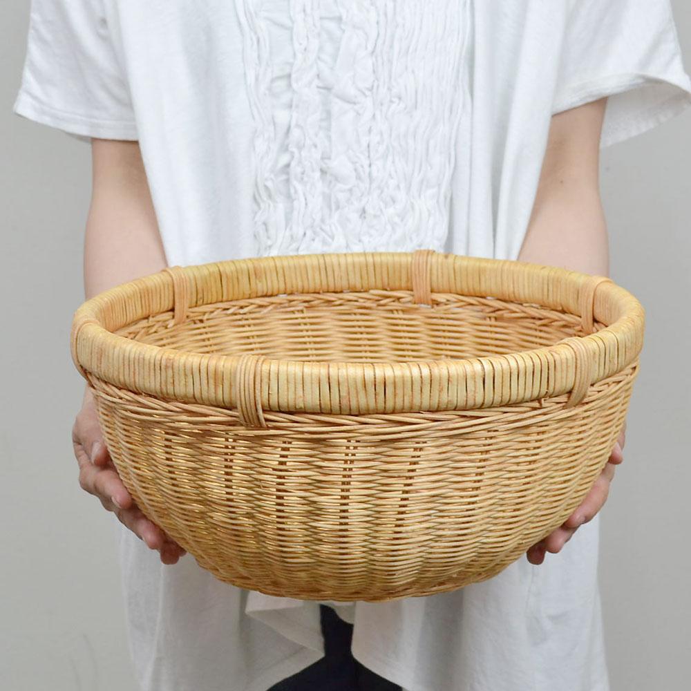 ラタン 丸かご Lサイズ 籐 ベトナム製 小物収納  カゴ