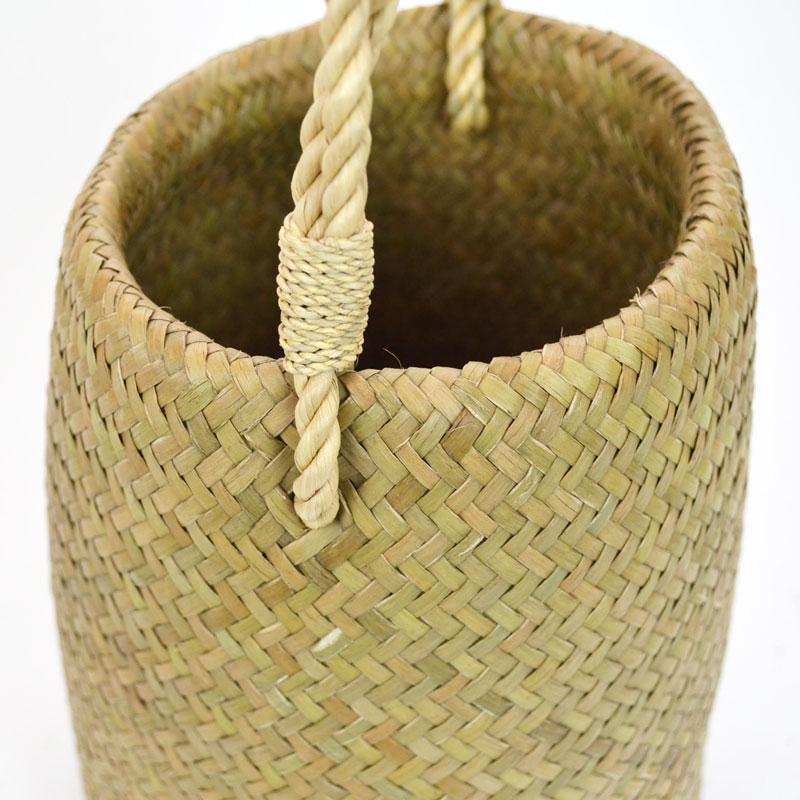 カチュー 筒型 フリンジ付き かごバッグ 天然素材 水草