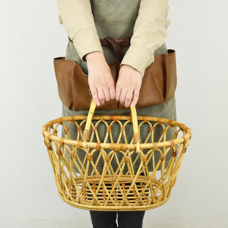 ユグラ ラタン オーバル マーケットバスケット 籐 かご