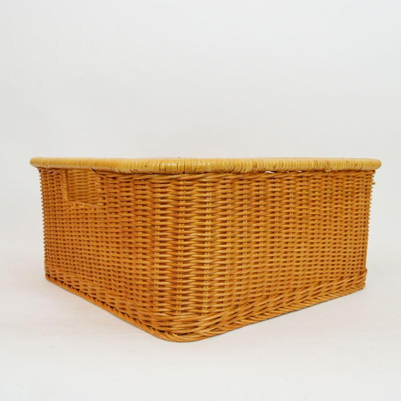 脱衣かご ブラウン ラタン 籐かご ランドリーバスケット 籠