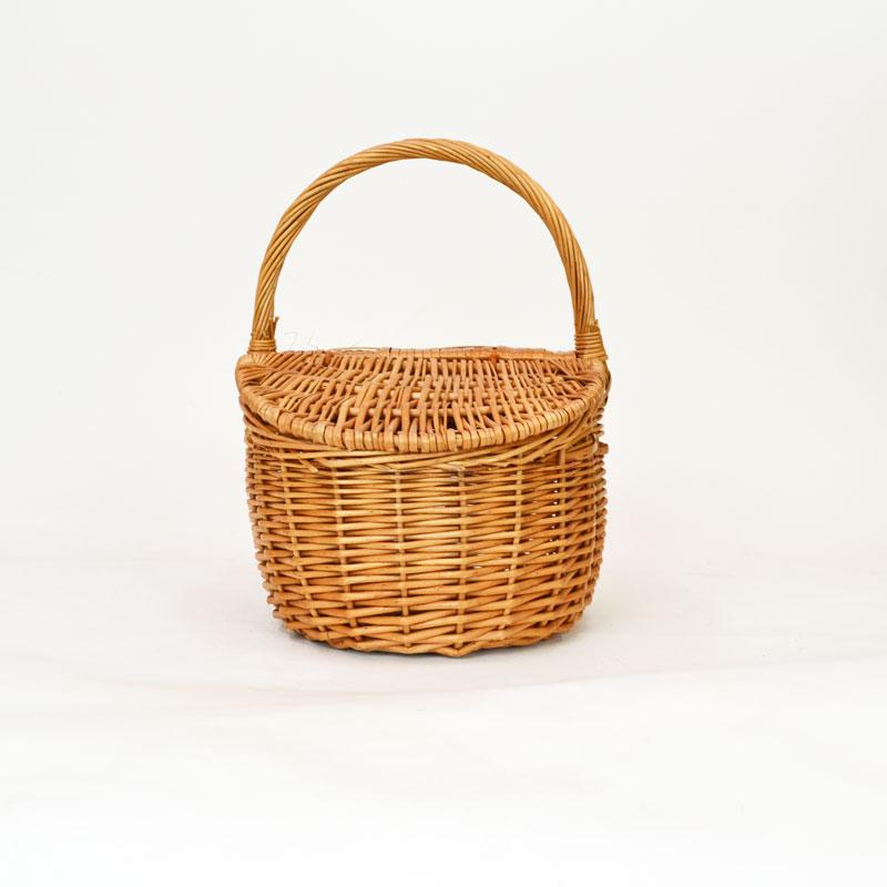 柳ピクニックバスケット ウィッカー L フタ付 かごバッグ