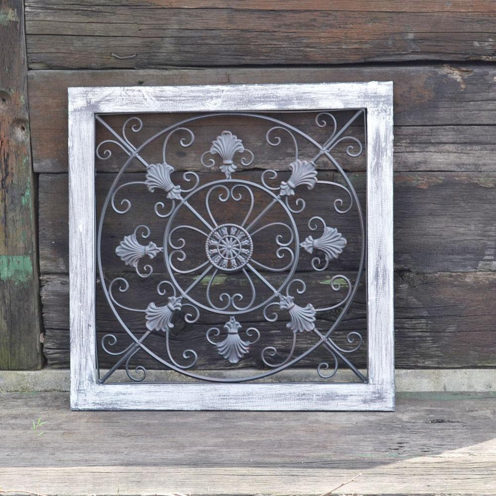 ウォールデコレーション スクエア型  窓枠 アンティーク風 アイアン ウッド インテリア ハンディクラフト 木製 ウィンドフレーム オシャレな雰囲気を演出 壁飾り インテリア雑貨 ディスプレイ お洒落 ガーデン