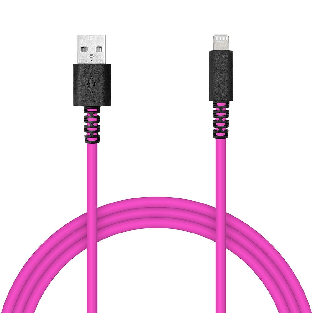 ラスタバナナ iPhone iPod iPad MFi認証 充電 通信ケーブル 2.4アンペア 1メートル タイプA ライトニングケーブル Type-A to Lightning 2.4A 1m 蛍光 ネオン ピンク R10CAAL2A06PK