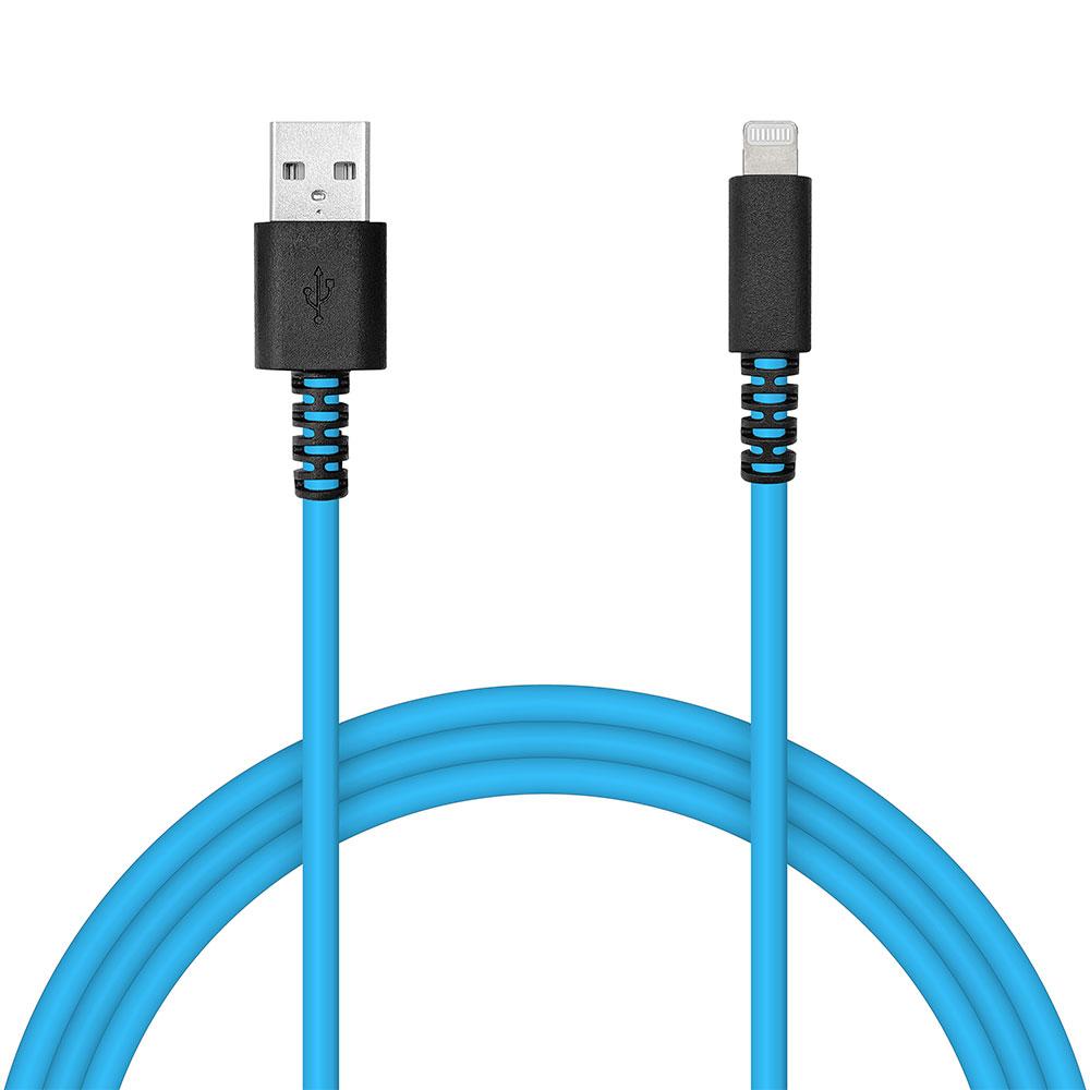 ラスタバナナ iPhone iPod iPad MFi認証 充電 通信ケーブル 2.4アンペア 1メートル タイプA ライトニングケーブル Type-A to Lightning 2.4A 1m 蛍光 ネオン ブルー R10CAAL2A06BL