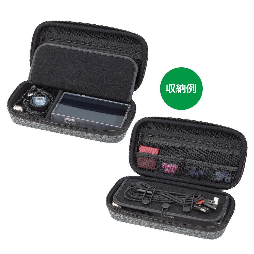 ポータブルオーディオバッグ ケース カバー セミハード ファブリック ネイビー EVA素材 DAP デジタルオーディオプレイヤー イヤホン 収納 CP-EPLC1D/NV