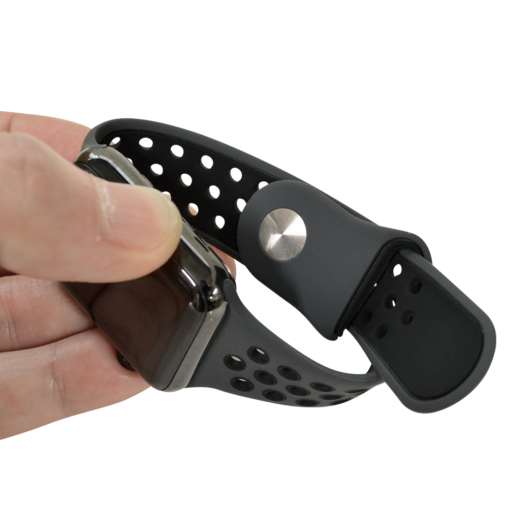 ラスタバナナ Apple Watch SE Series6 Series5 Series4 Series3 44mm 42mm シリコンベルト  スポーツタイプ BK×BK アップルウォッチ バンド RBLAW4402KK
