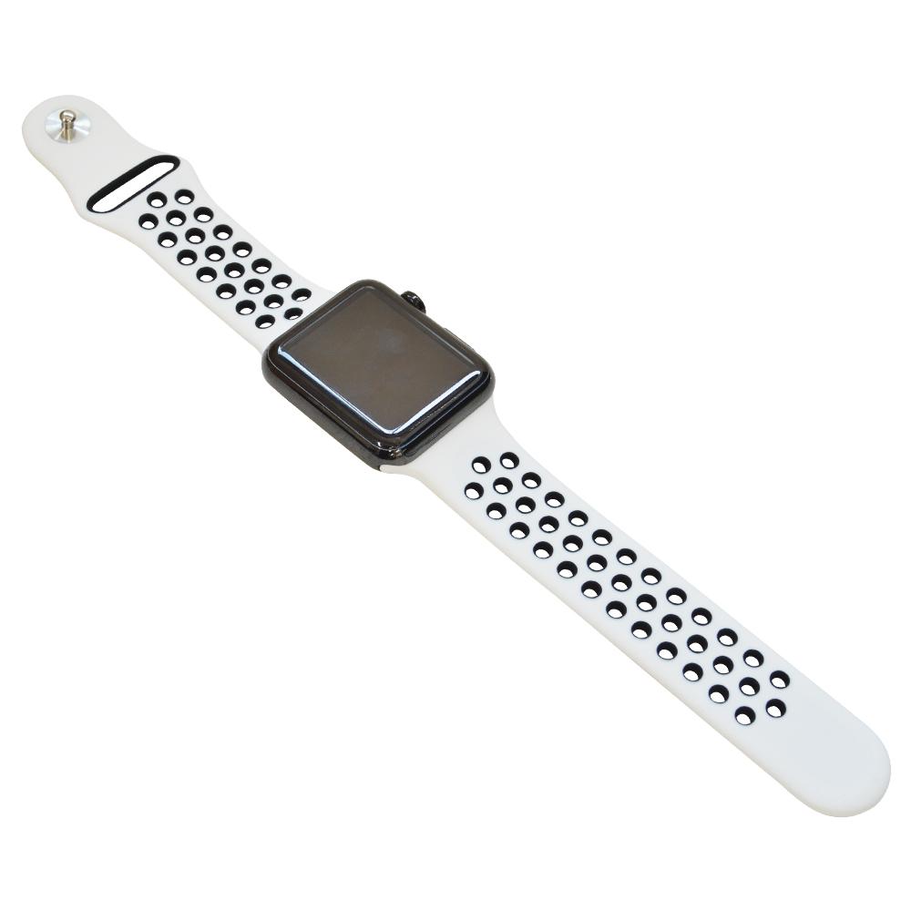ラスタバナナ Apple Watch Series5 Series4 Series3 44mm 42mm シリコンベルト  スポーツタイプ WH×BK アップルウォッチ バンド RBLAW4402WK