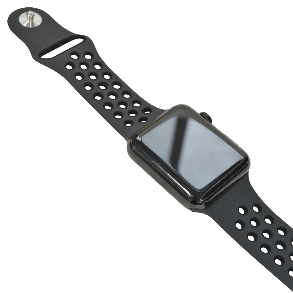ラスタバナナ Apple Watch SE Series6 Series5 Series4 Series3 44mm 42mm シリコンベルト  スポーツタイプ WH×BK アップルウォッチ バンド RBLAW4402WK