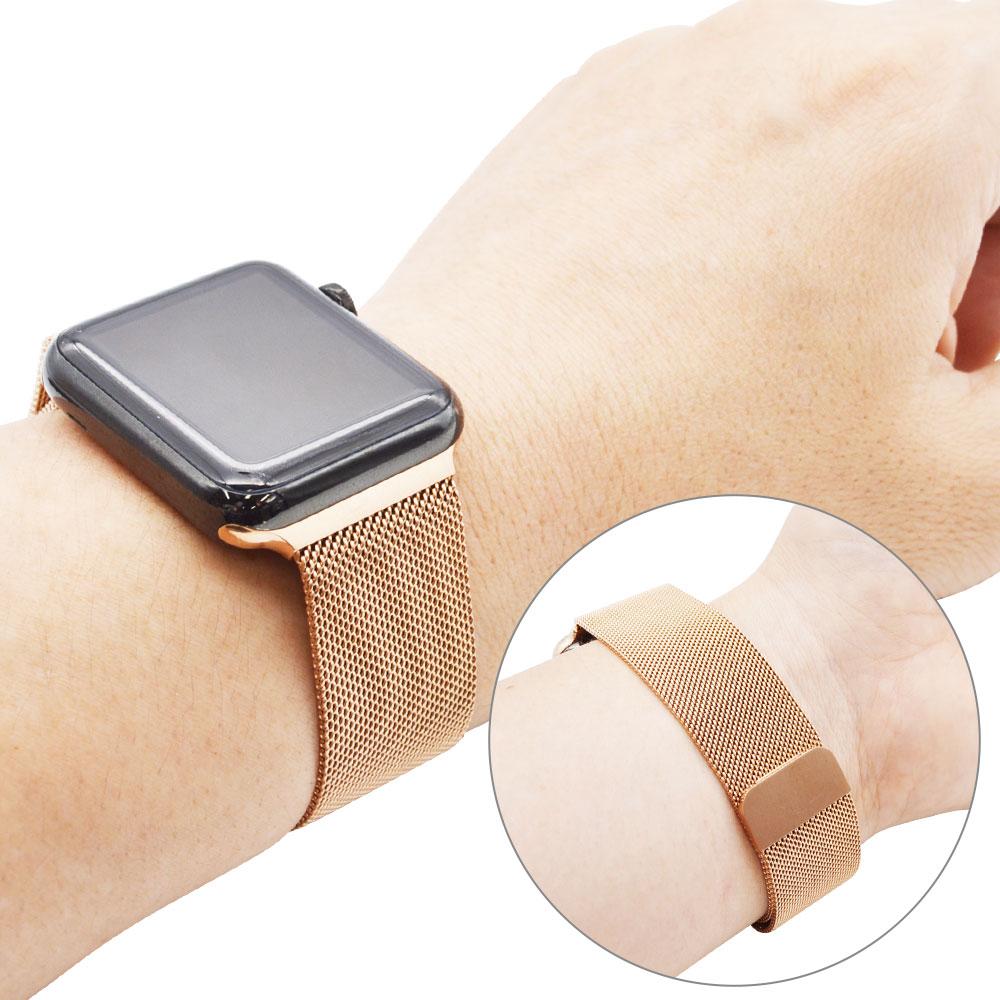 ラスタバナナ Apple Watch SE Series6 Series5 Series4 Series3 44mm 42mm ステンレス メッシュ マグネットタイプ ローズゴールド アップルウォッチ バンド RBLAW4404RG