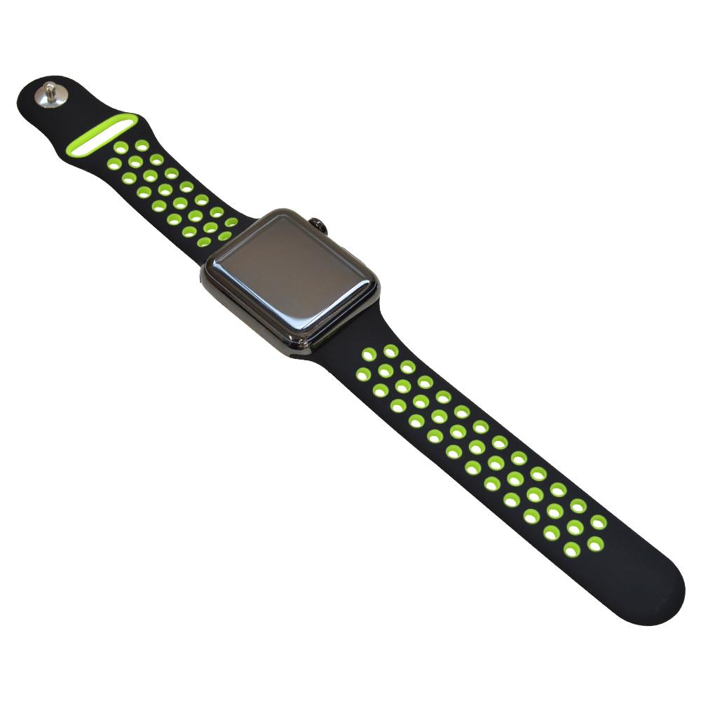 ラスタバナナ Apple Watch SE Series6 Series5 Series4 Series3 44mm 42mm シリコンベルト スポーツタイプ BK×GR アップルウォッチ バンド RBLAW4402BG