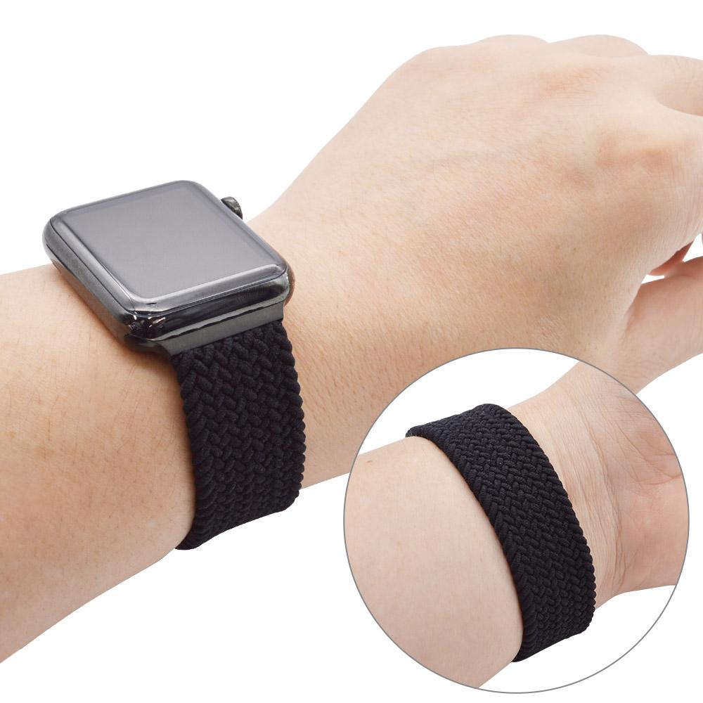 ラスタバナナ Apple Watch Series7 SE Series6 Series5 Series4 Series3 40mm 38mm 編み込み伸縮バンド ナイロン ラバー Lサイズ ブラック アップルウォッチ バンド RBLAW4003BKL