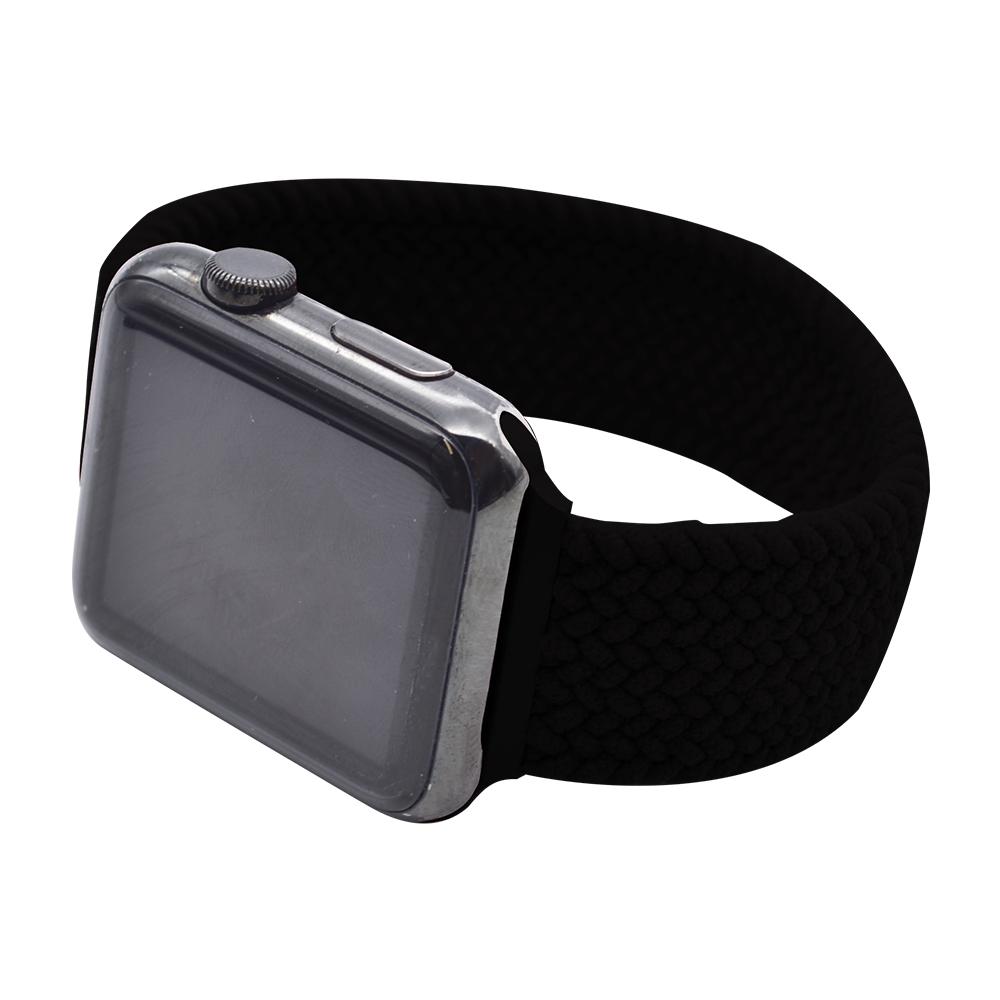 ラスタバナナ Apple Watch SE Series6 Series5 Series4 Series3 44mm 42mm 編み込み伸縮バンド ナイロン ラバー Lサイズ ブラック アップルウォッチ バンド RBLAW4403BKL