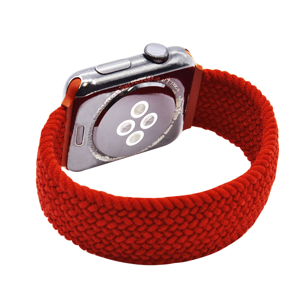 ラスタバナナ Apple Watch SE Series6 Series5 Series4 Series3 44mm 42mm 編み込み伸縮バンド ナイロン ラバー Lサイズ  レッド アップルウォッチ バンド RBLAW4403RDL