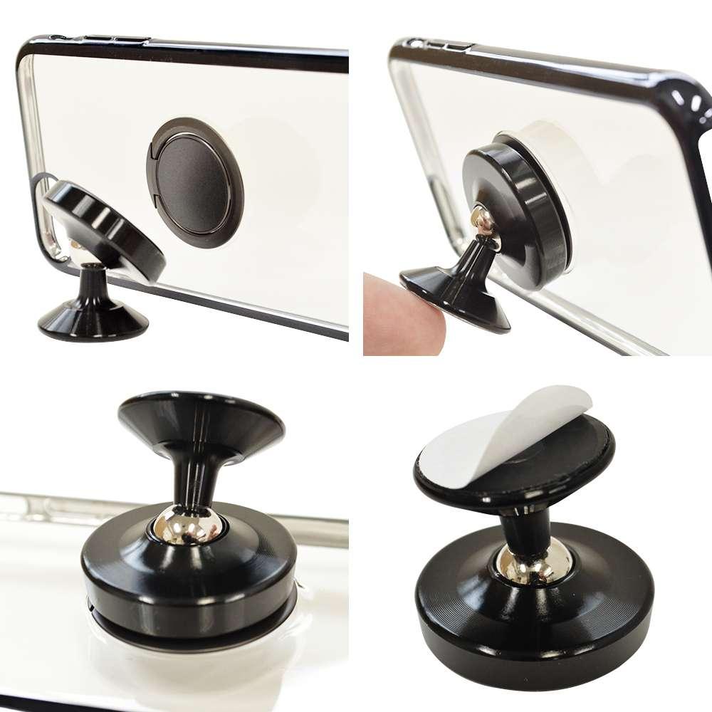 お宝市 ラスタバナナ iPhone/スマートフォン対応 極薄スマホリング 車載スタンドセット ダッシュボード用 スタンド 落下防止 車載用 ピンクゴールド アイフォン RRNGSUCAR01PG