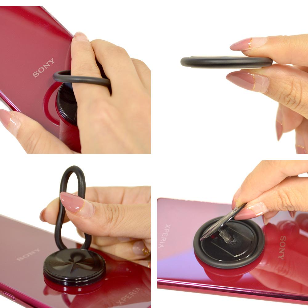 ラスタバナナ iPhone スマートフォン 2in1 スマホリング フィンガーホールド ソフト スタンド 落下防止 ピンク RRNGQI01PK