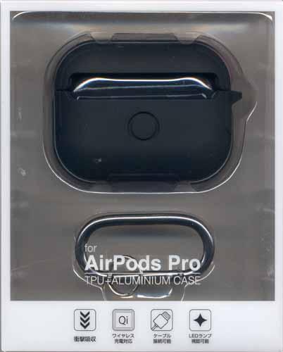 ラスタバナナ AirPods Pro ケース カバー TPU+アルミ simpleケース カラビナ付き 耐衝撃吸収 ワイヤレス充電対応 ブラック×スペースグレー エアポッズプロ 5967APPTP