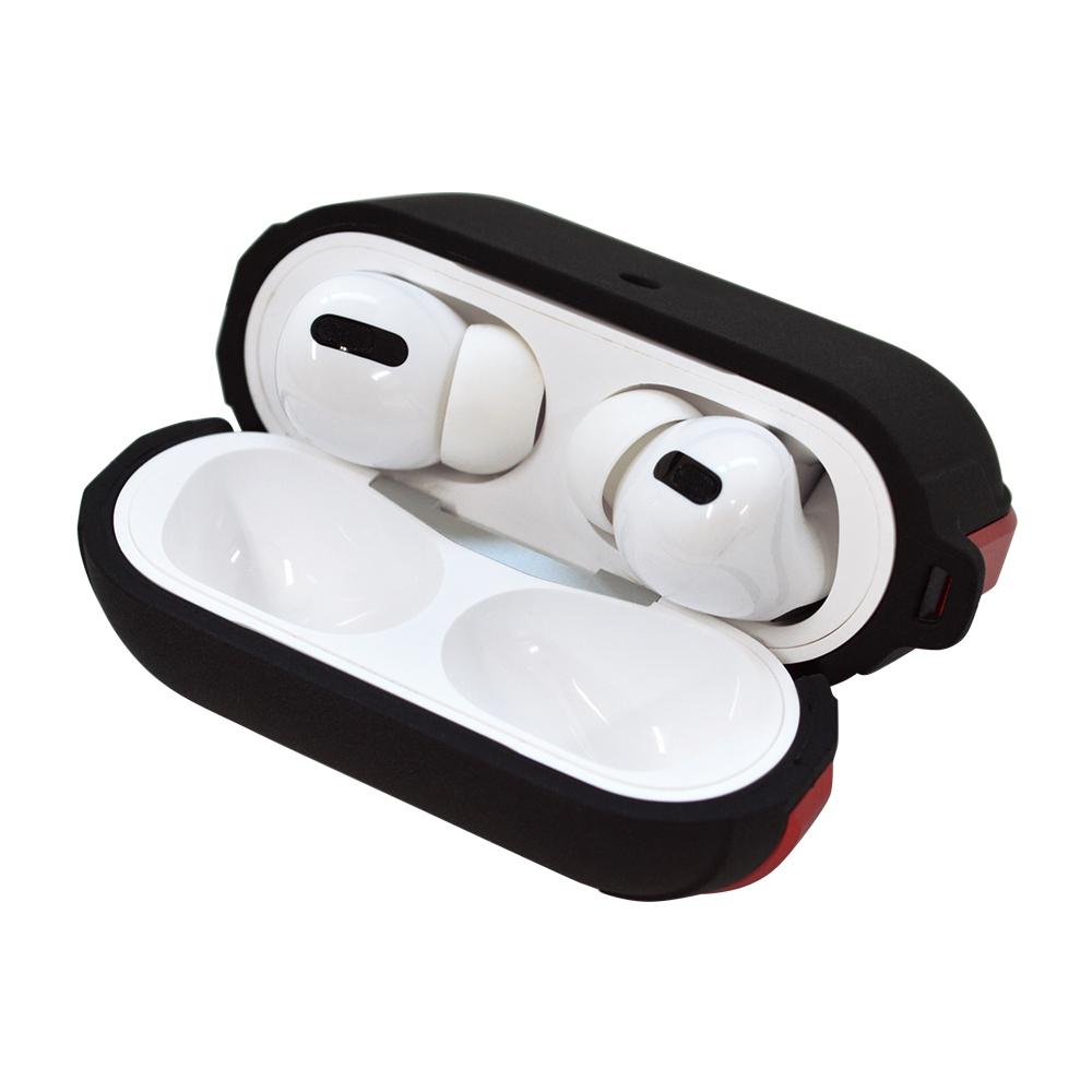 ラスタバナナ AirPods Pro ケース カバー TPU+アルミ simpleケース カラビナ付き 耐衝撃吸収 ワイヤレス充電対応 ブラック×レッド エアポッズプロ 5969APPTP