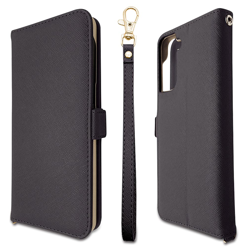 ラスタバナナ Galaxy S21+ 5G SCG10 ケース カバー 手帳型 ハンドストラップ付き ブラック ギャラクシー S21 プラス 5G スマホケース 6162GS21PBO