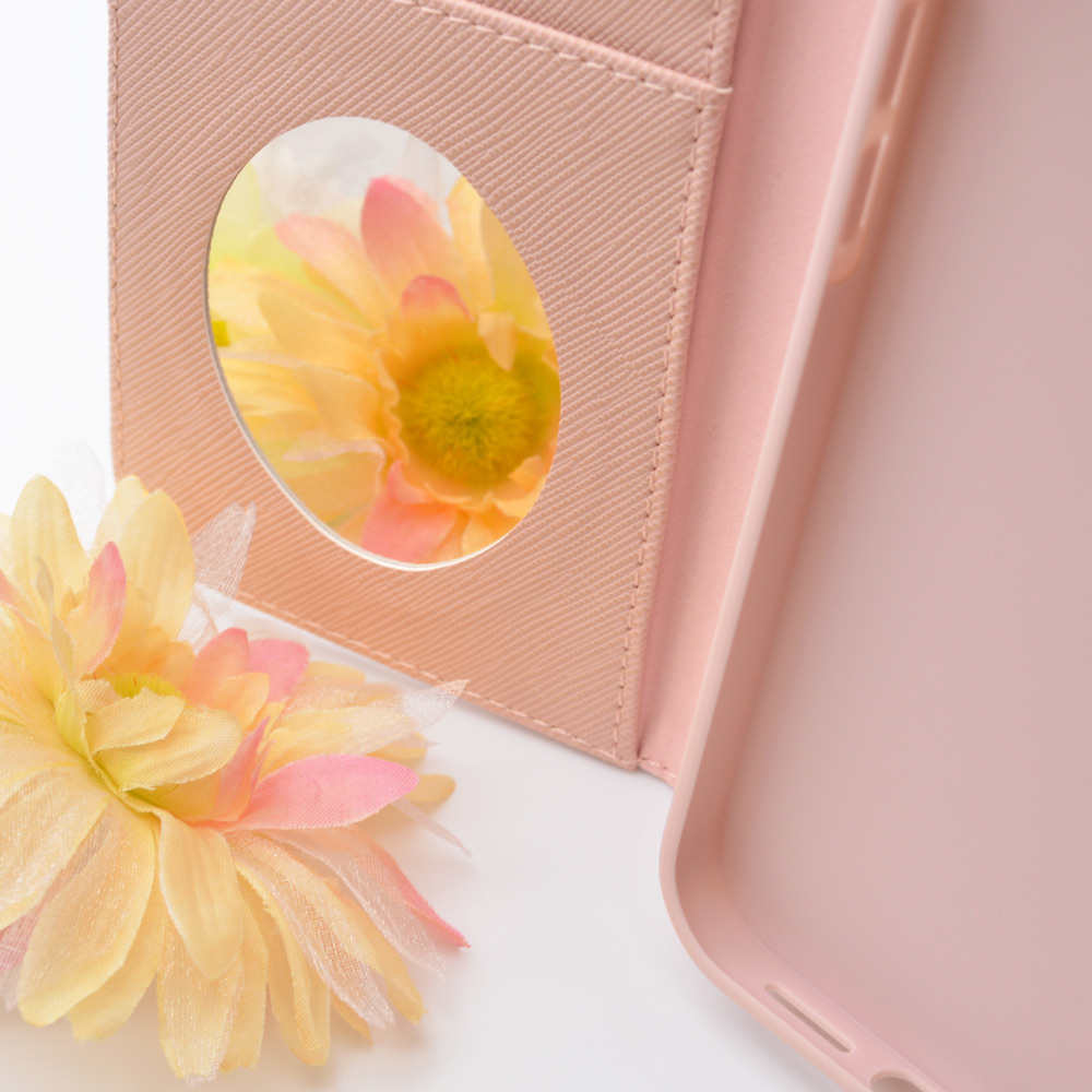 ラスタバナナ iPhone13 Pro Max ケース カバー 手帳型 かわいい カード入れ おしゃれ スタンド機能 鏡 ミラー シンプル 大人 レディース リボンベルト ライトピンク アイフォン13 スマホケース 6587IP167BO