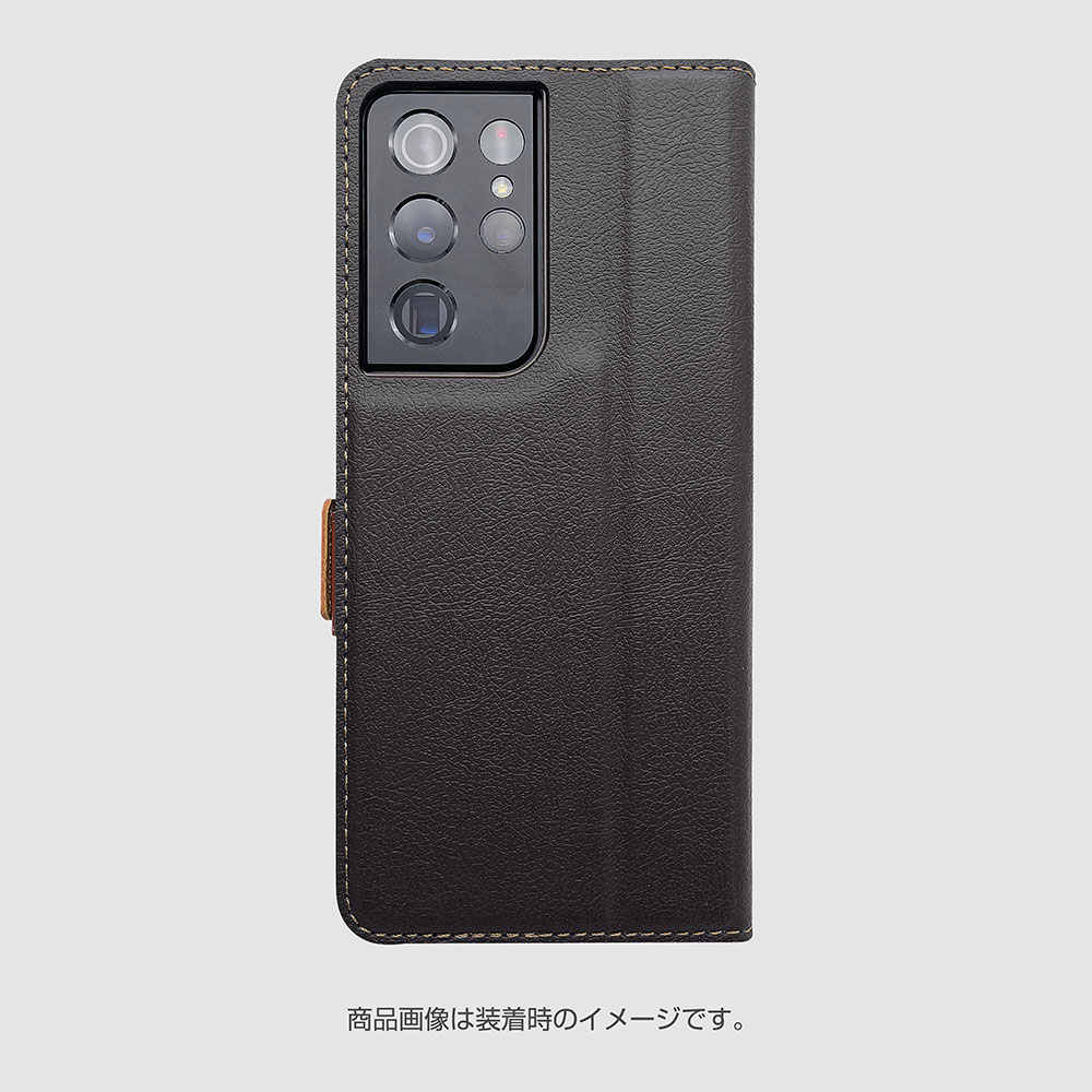 ラスタバナナ Galaxy S21 Ultra 5G ケース カバー 手帳型 +COLOR 耐衝撃吸収 薄型 サイドマグネット BK×DBR ギャラクシー S21 ウルトラ 5G スマホケース 6170GS21UBO