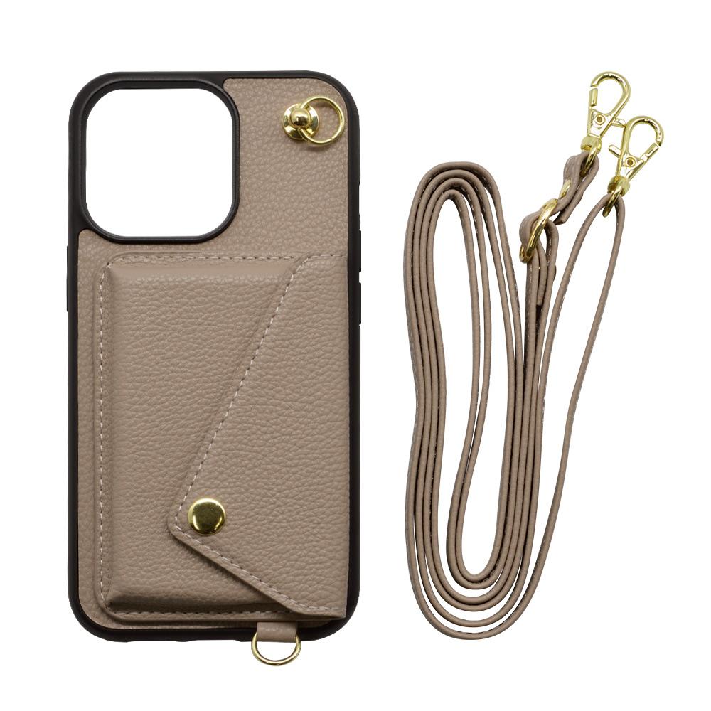 ラスタバナナ iPhone13 Pro Max ケース カバー ハイブリッド 首掛け 肩掛け かわいい カード入れ おしゃれ シンプル 大人 レディース メンズ ショルダーストラップ付き ヨコ型 ベージュ アイフォン13 スマホケース 6594IP167TP