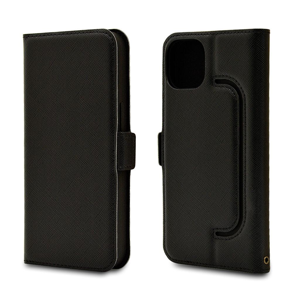 ラスタバナナ iPhone13 ケース カバー 手帳型 フィンガーホール付き 落下防止 ブラック アイフォン13 スマホケース 6610IP161BO