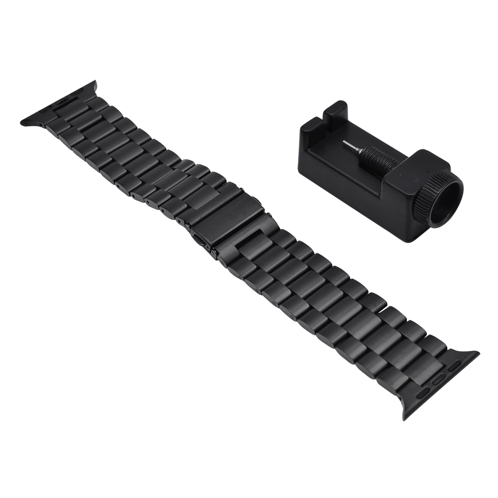 ラスタバナナ Apple Watch SE Series6 Series5 Series4 Series3 44mm 42mm ステンレス 三つ折れプッシュタイプ 長さ調節キットつき ブラック アップルウォッチ バンド RBLAW4405BK