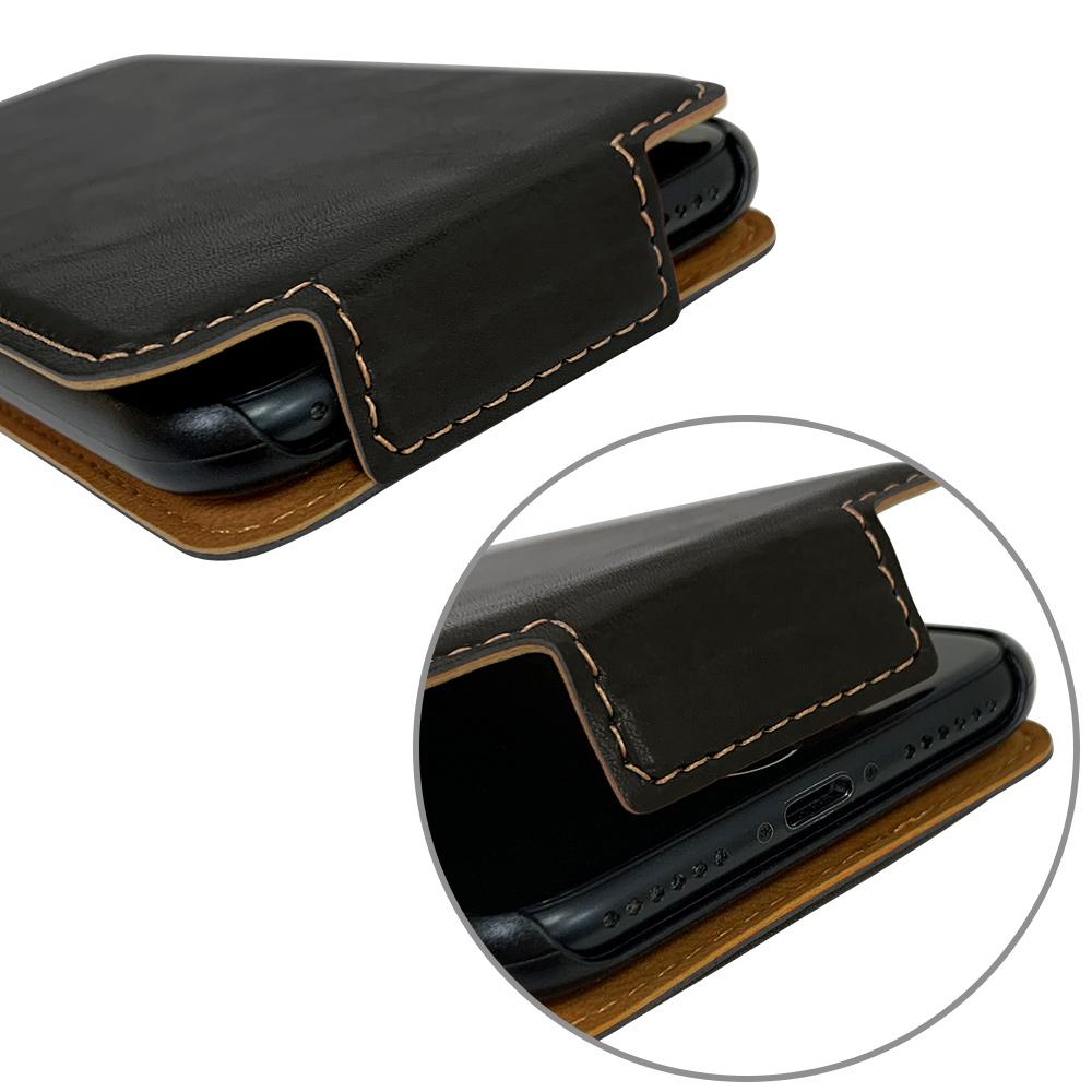 ラスタバナナ iPhone SE 第2世代 iPhone8 iPhone7 iPhone6s 共用 ケース カバー 手帳型 スマホリング一体型 落下防止 縦型 ブラック アイフォン スマホケース 6204IP047BO