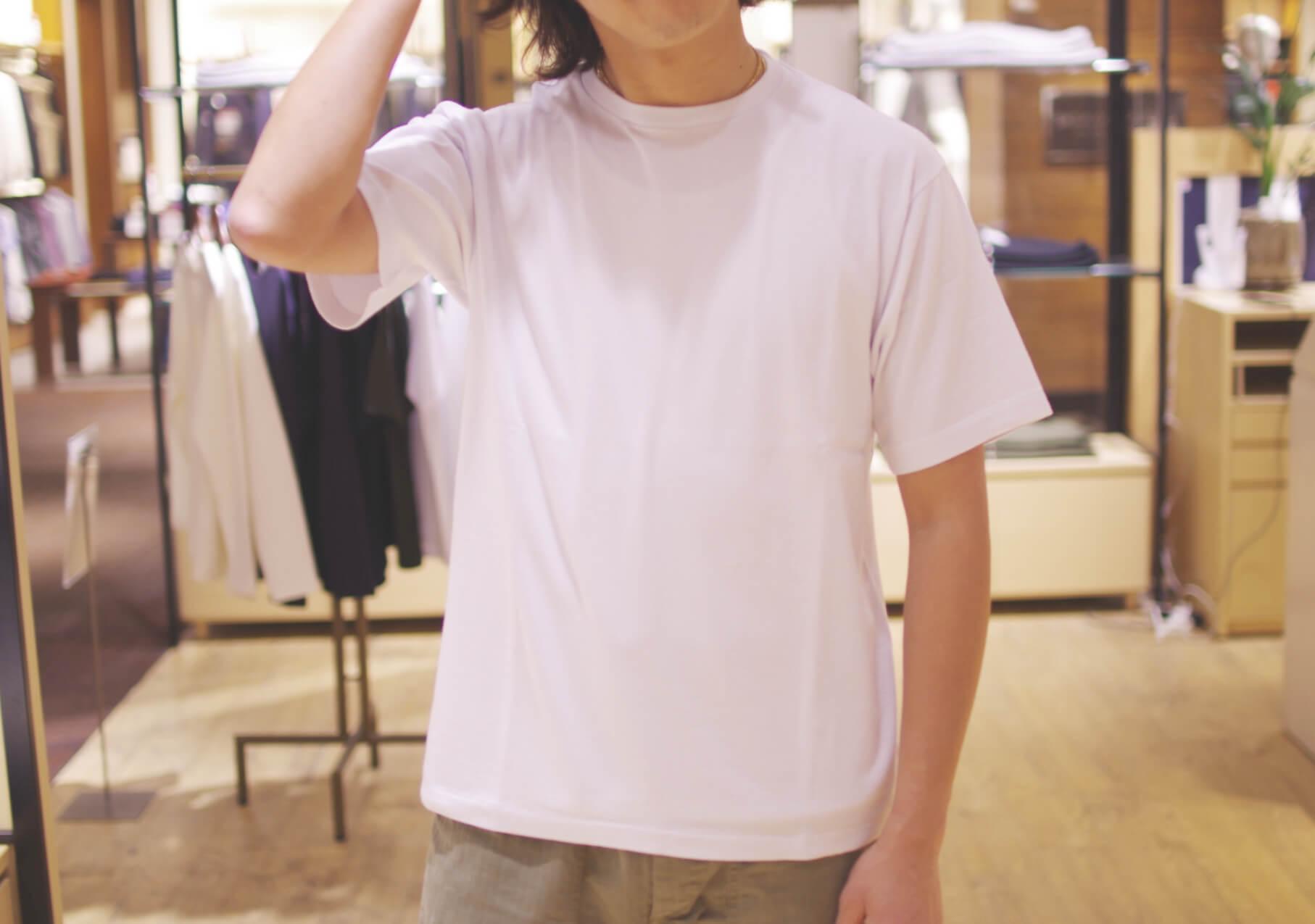 Organic extra-long cotton backstitch tee (powder aqua) オーガニック バックステッチ Tシャツ