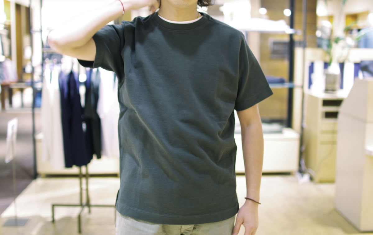 No fuzzing moss stitch tee  (bottle green) ガス焼き鹿の子Tシャツ
