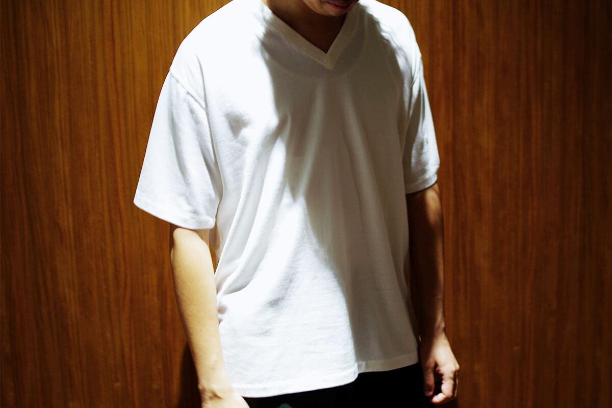 No Fuzzing v-tee ガス焼きTシャツ(white)