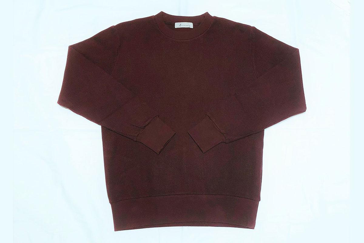 rib stitch knit reverse クルーネックスウェット(brown)